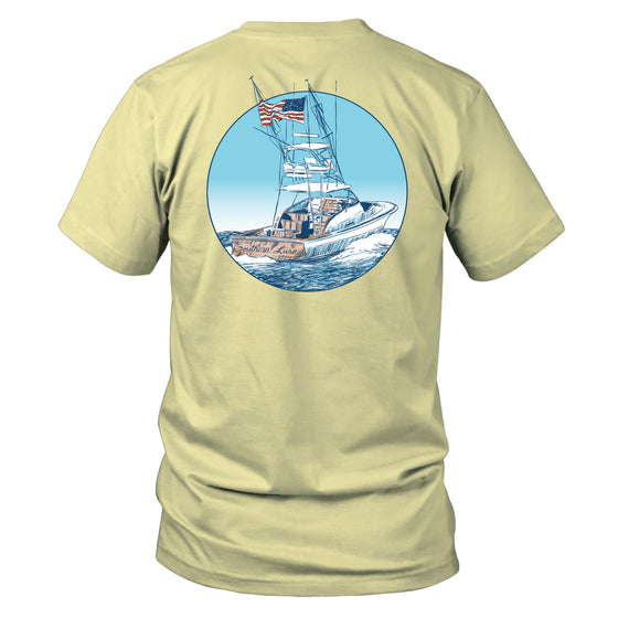 Youth & Toddler Short Sleeve Cotton Tee - USA Boat - Yellow