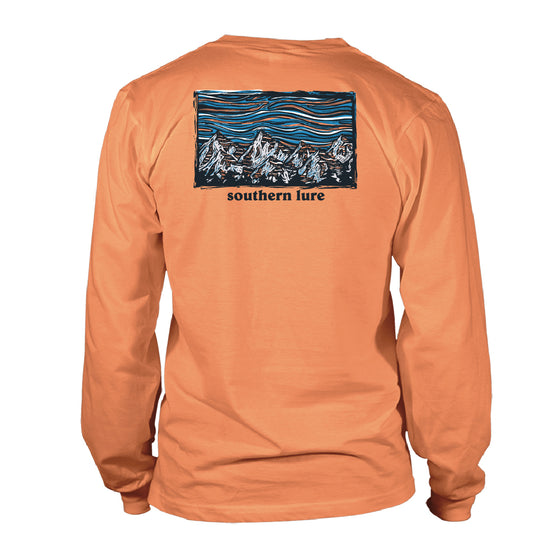 Men's Long Sleeve Cotton Tee - Lino Mountains - Melon