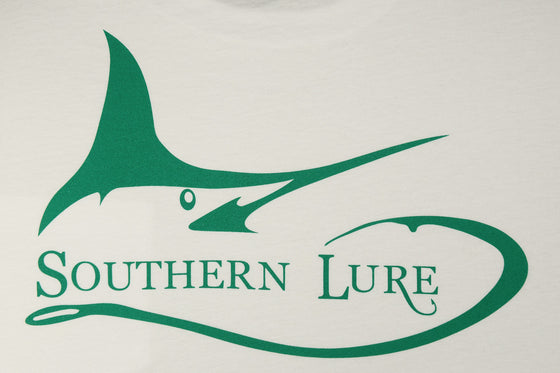 Youth Marlin Darlin High Tide White Tee with Green Print