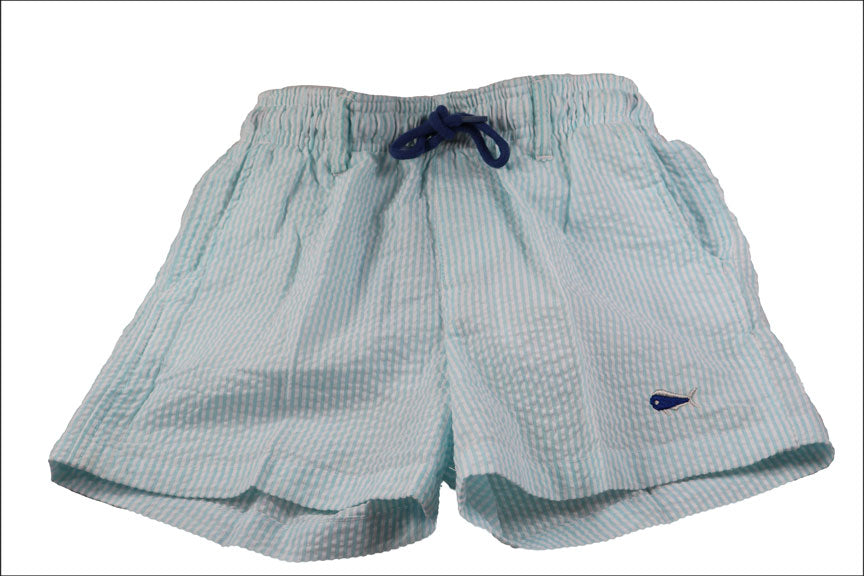 Youth Seersucker Swim Trunks - Seafoam
