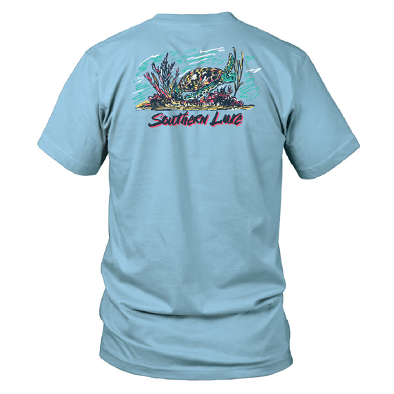 Toddler Short Sleeve Cotton Tee - Sea Turtle - Sky Blue