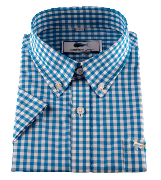 Youth SS Woven Sport Shirt - Turquoise Gingham