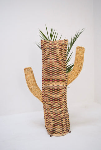 Rattan Cactus Handmade in Morocco Halfah Grass Cactus with Metal feet