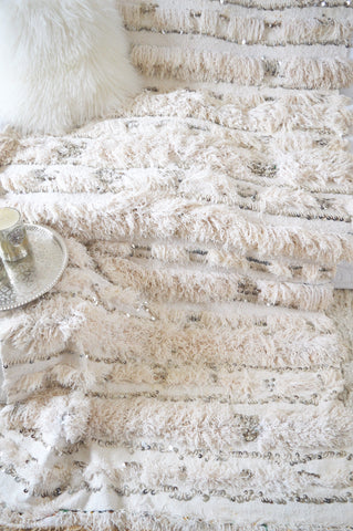 Vintage White Moroccan Wedding Blanket Handira Throw