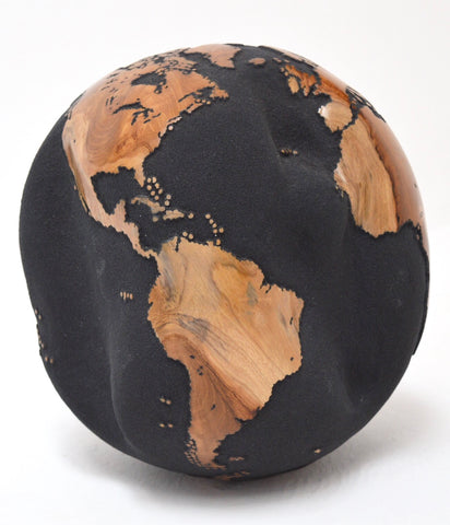 Teak Wood Globe 30 CM Black on Rotative Base