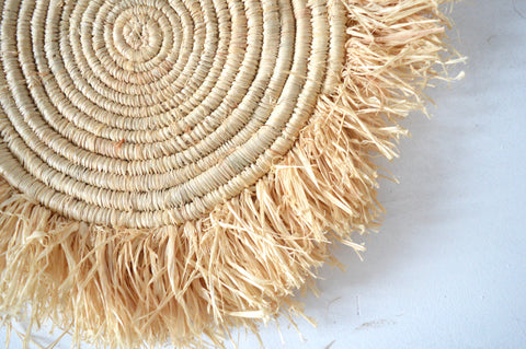 Raffia Placemats Woven Raffia Fringe Set of Four
