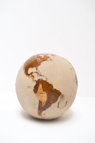 Teak Wood Globe 40 CM White on Rotative Base