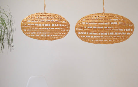 Moroccan Rattan lampshade x 2 Large Natural Handmade Pendant Light