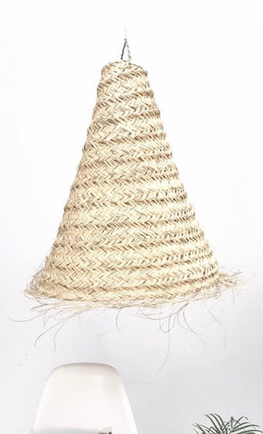 XL Moroccan Suspension Conical Lampshade Natural Rattan Lampshade Pendant Light