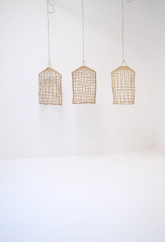 Ourika Sun Moroccan Rattan Cage Lampshade Set of 3 Pendant Lampshades Natural Rattan woven Lampshade