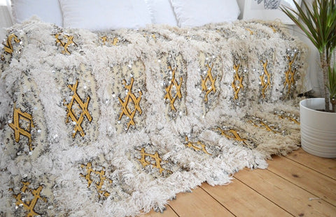 Queen Vintage Moroccan Wedding Blanket Handira