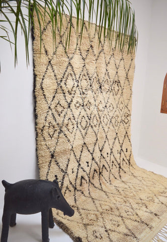 Vintage BENI OURAIN Rug Hand Woven Wool Rug
