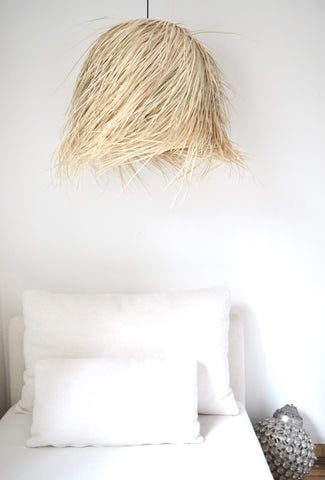 NEW IN Raffia Palm lamp Domed Medium Natural Woven Raffia Pendant Light BoutiqueMaroc
