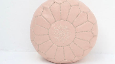 Moroccan Leather Pouf Nude Leather Pouffe H