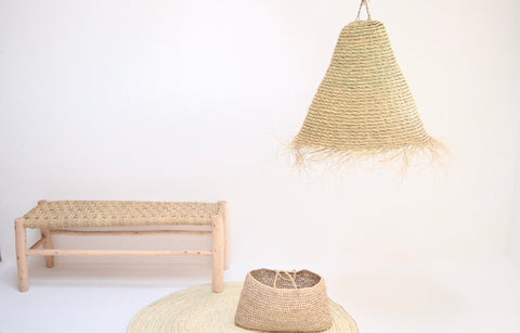 Moroccan Handmade Rattan braided Lampshade Woven Natural Rattan Pendant Light