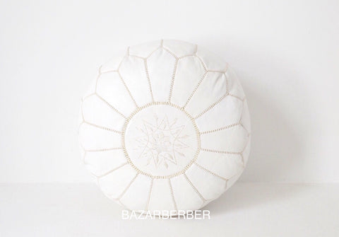 Moroccan Pouf Luxury Designer White Leather Pouf with Embroidery