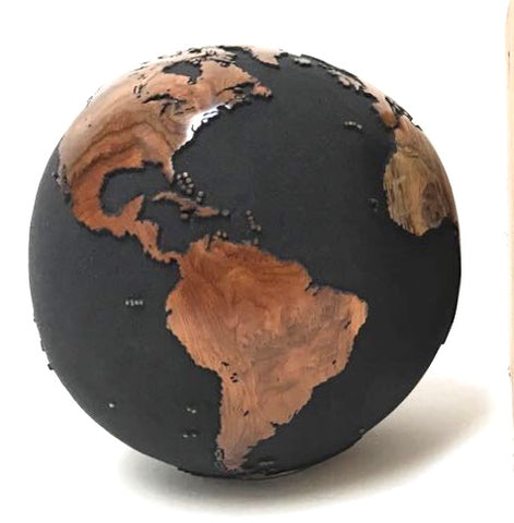 Teak Wood Globe 40 CM Black on Rotative Base