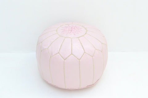 Moroccan Pouf Luxury Leather Pastel Pink Pouf with Embroidery
