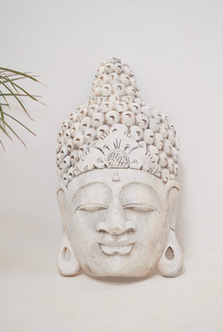 Balinese Buddha Mask Hand carved from Suar Wood