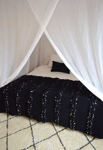 Moroccan Wedding Blanket Large Black Blanke
