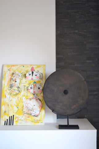 Large Stone Grinding DIsc 50 cm on Metal Display Stand