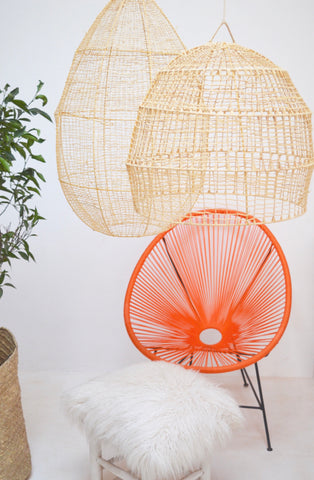 Moroccan Raffia Light shade Pendant Raffia Rattan Crochet Light-shade