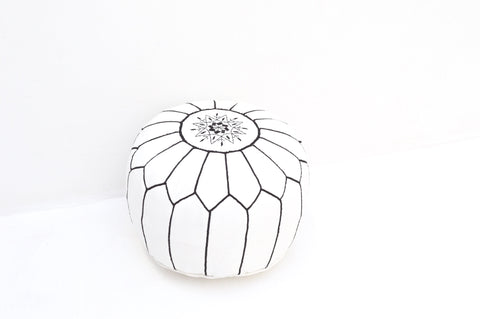 Moroccan Leather Pouf White with Black Stitching Leather Pouf
