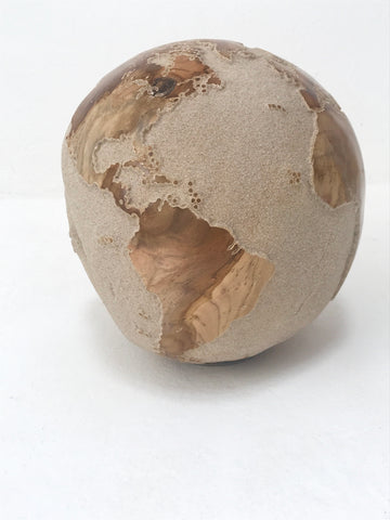 SALE 50% off Teak Wood Globe 25CM White on Rotative Base