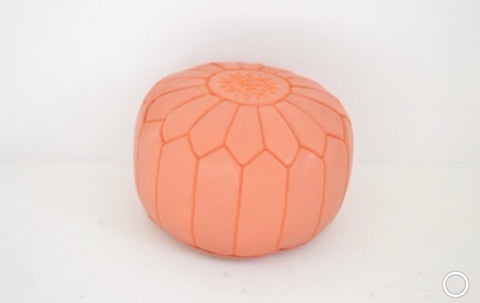 Moroccan Leather Pouf Coral Leather Poufe