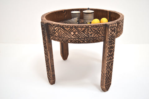 Moroccan Chakki Table Hand Carved Tall Table