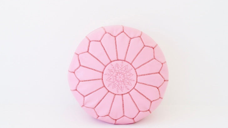 Moroccan Leather Pouf Luxury Pink Pouffe
