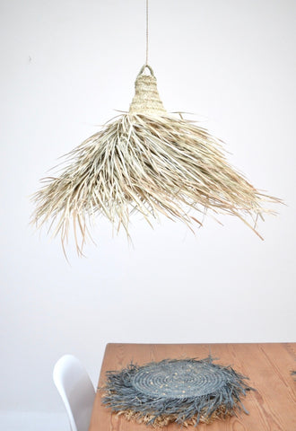 Moroccan Rattan Lampshade Large Natural Woven Raffia Pendant Light
