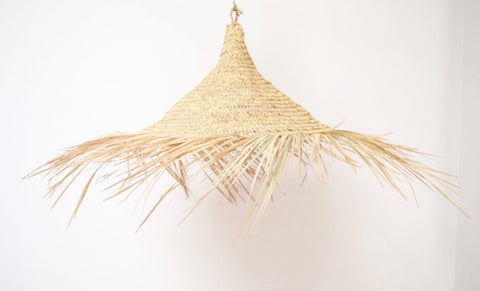 Moroccan Raffia Lampshade Natural Woven Raffia Pendant Light
