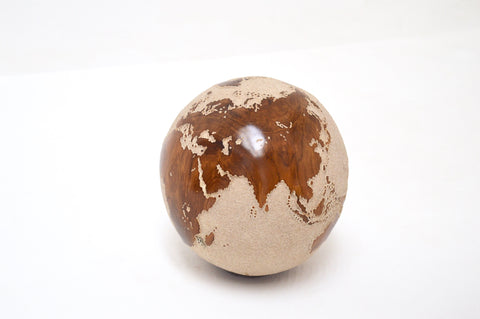 Teak Wood Globe 20CM White on Rotative Basel