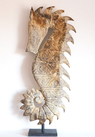 SeaHorse Sculpture Hugr Handcarved by Artisans Indonesia