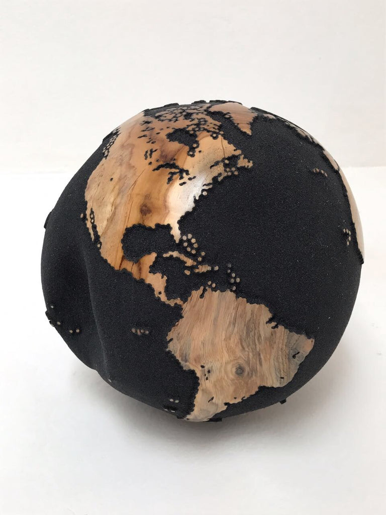 Teak Wood Globe 25CM Black on Rotative Base