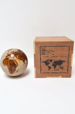Teak Wood Globe 20CM White on Rotative Base