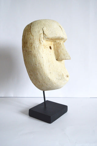 Timor Island Mask on Iron Stand Sculpture Carved Tribal Mask