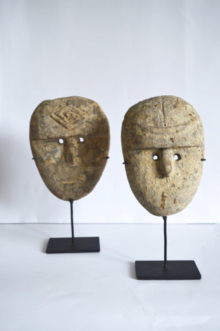 Two Timor Island Masks on Iron Mount Sculpture Carved Masks