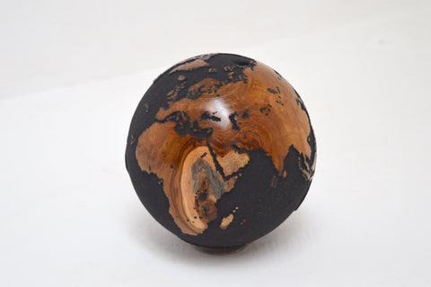 Teak Wood Globe 20CM Black on Rotative Base