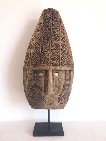 Timor Mask Sculpture Handcarved W Iron Stand