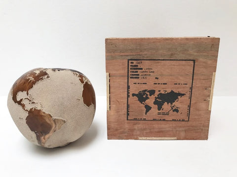 Teak Wood Globe 25CM White on Rotative Base
