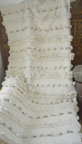 Vintage Moroccan White Wedding Blanket