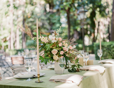 provence, France, destination wedding tablescape styled with high quality taper candles