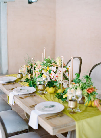Citrus wedding tablescape taper candles