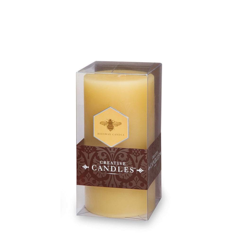 "Beeswax Hurricane Pillar Candle 3"" x 6"""