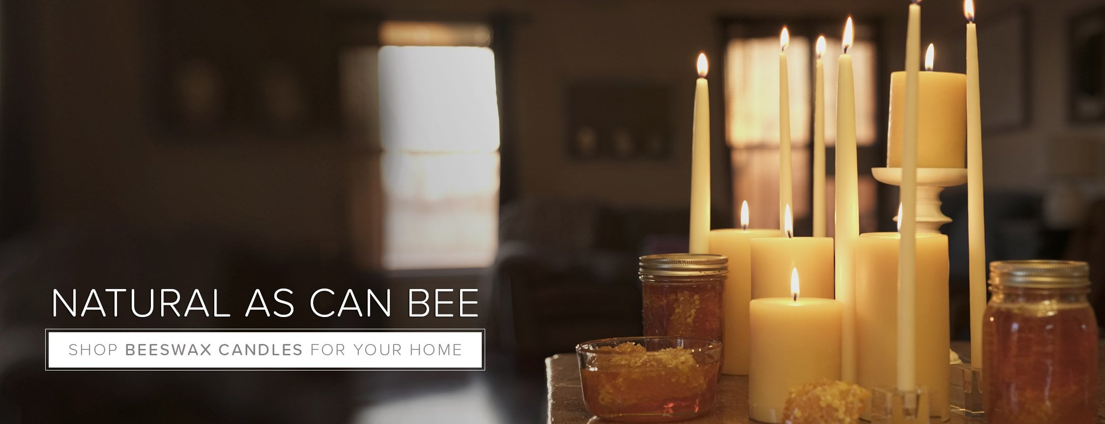 Beeswax candles are made using sustainable ingredients and give off a light honey scent.