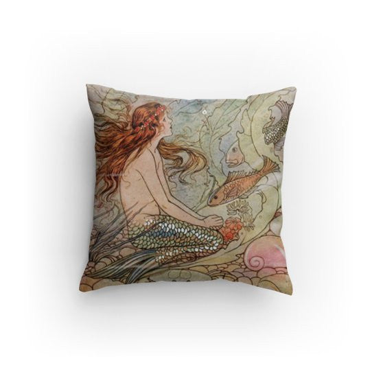 ❤️Gold fish mermaid pillow