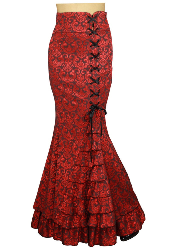 ⚓️Red JACQUARD Victorian mermaid skirt
