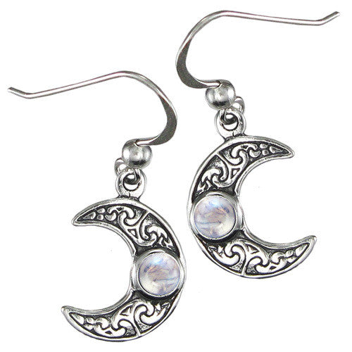 ❤️ Horned Moon Crescent Earrings with Rainbow Moonstone
